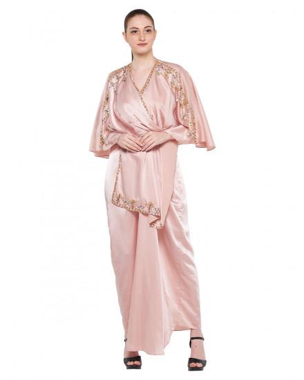 Olesia Signature Wrap Kaftan in Shimmer Light Pink