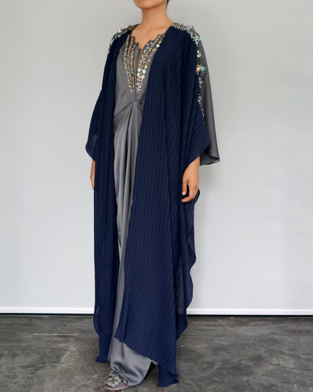 Evren Embellished Three-way Pleats Wrap Kaftan in Dark Chrome and Navy