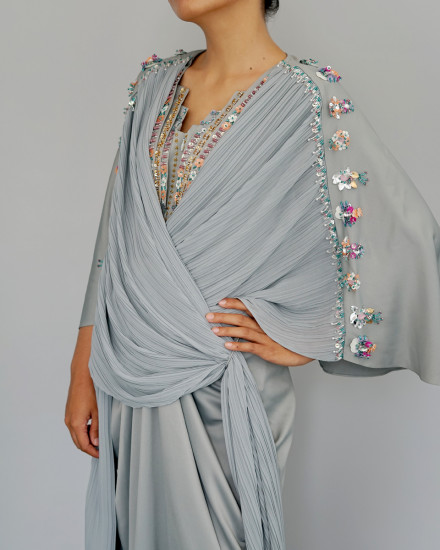 Evren Embellished Three-way Wrap Pleats Kaftan in Green Tint and Morning Blue