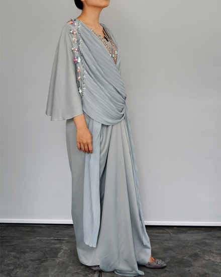 Evren Embellished Three-way Pleats Wrap Kaftan in Green Tint and Morning Blue