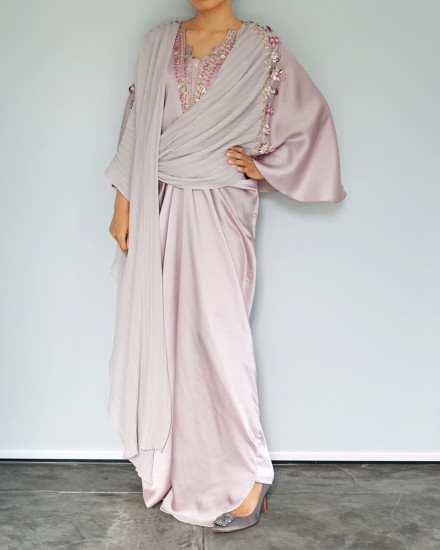 Evren Embellished Three-way Pleats Wrap Kaftan in Petal Pink