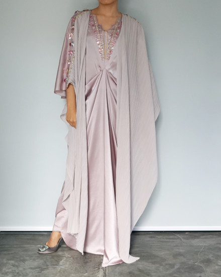 Evren Embellished Three-way Wrap Pleats Kaftan in Petal Pink