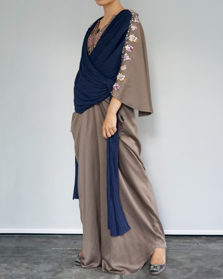 Evren Embellished Three-way Pleats Wrap Kaftan in Poised Taupe and Navy