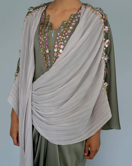 Evren Embellished Three-way Pleats Wrap Kaftan in Shimmer Green and Pearl Grey