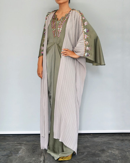 Evren Embellished Three-way Wrap Pleats Kaftan in Shimmer Green and Pearl Grey