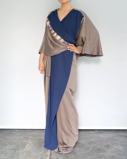 Olesia Signature Wrap Pleats Kaftan in Poised Taupe and Navy