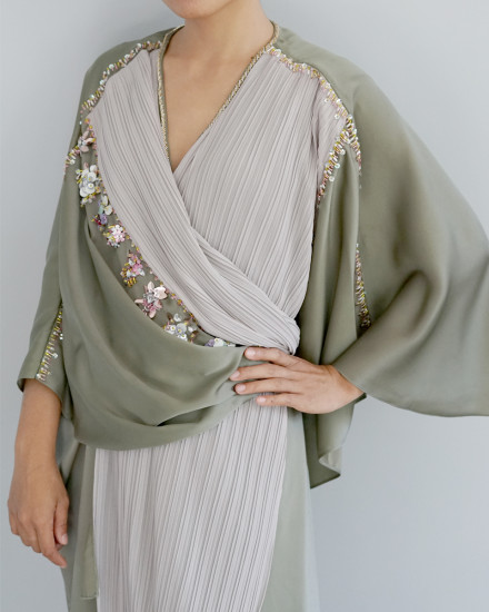 Olesia Signature Wrap Pleats Kaftan in Shimmer Green and Pearl Grey