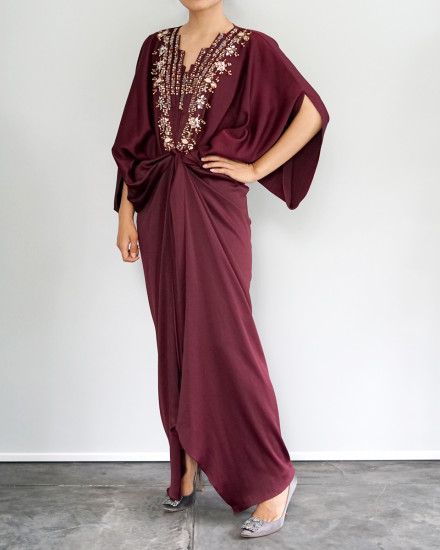 Cassia Embellished Signature Front Knot Kaftan in Oxblood Red