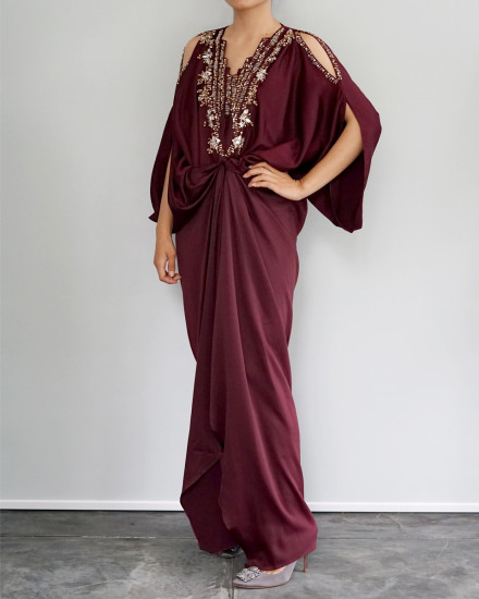 Cassia Embellished Open Shoulder Signature Front Knot Kaftan in Oxblood Red