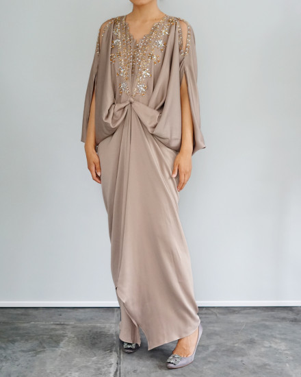 Cassia Embellished Open Shoulder Signature Front Knot Kaftan in Warm Grey
