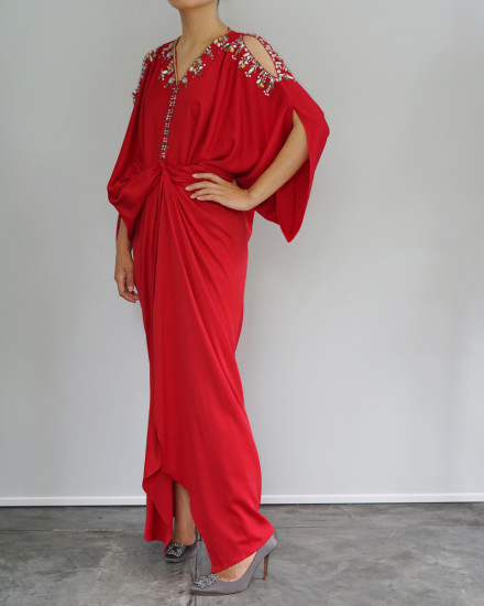 Cassia Open Shoulder Signature Front Knot in Red