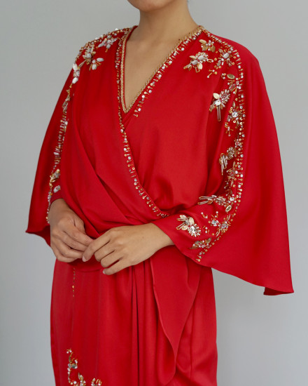 Olesia Signature Wrap Kaftan in Red