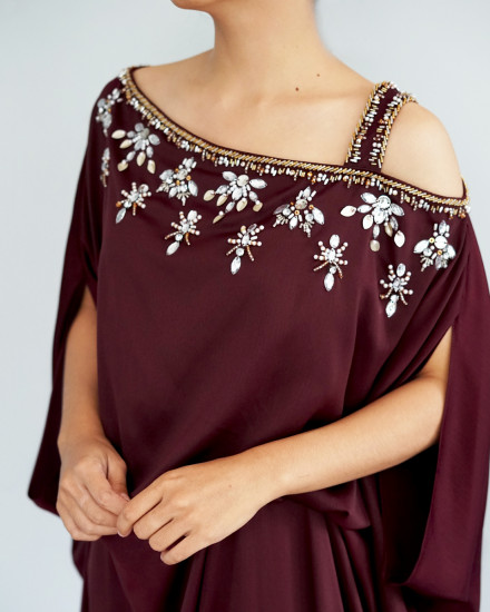 Xylia One Shoulder Signature Side Folded Floral Beads in Oxblood Red