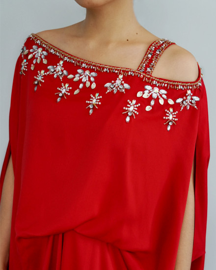 Xylia One Shoulder Signature Side Folded Floral Beads in Red