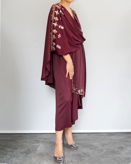 Olesia Midi Signature Wrap Kaftan in Oxblood Red