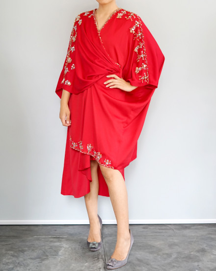 Olesia Midi Signature Wrap Kaftan in Red