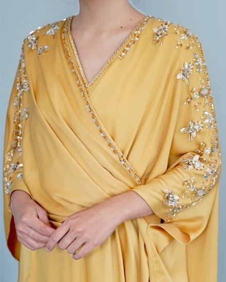 Olesia Midi Signature Wrap Kaftan in Yellow