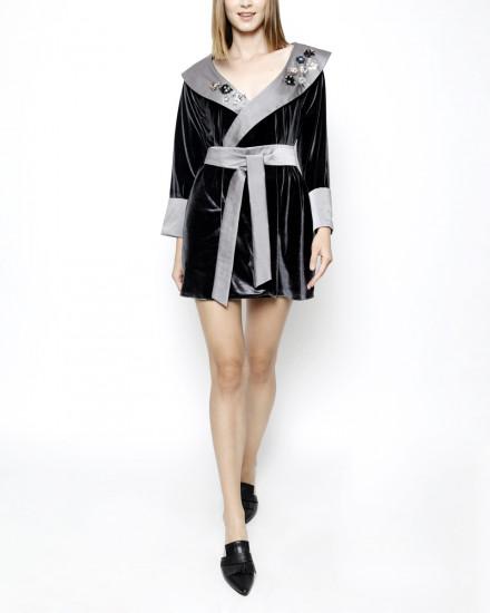 Debonaire Belted Velvet Robe in Dark and Satin Pearl Grey