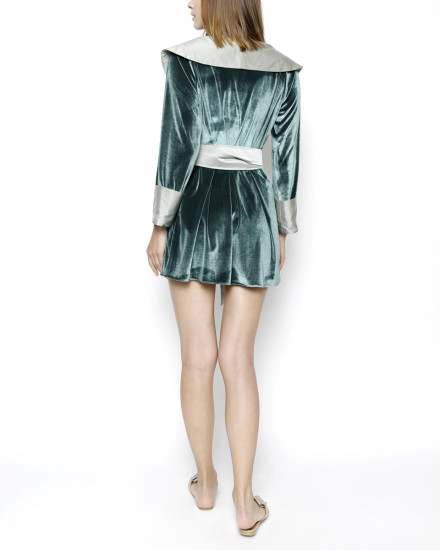 Debonaire Belted Velvet Robe in Delicate Green and Satin Shimmer Light Green