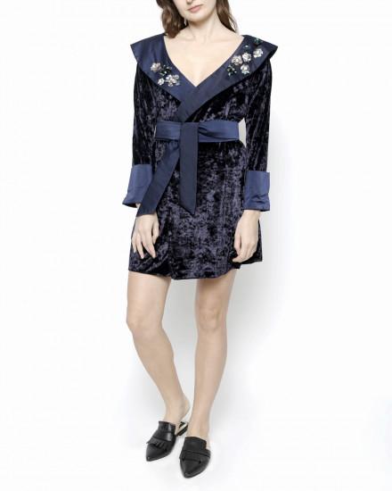 Debonaire Belted Velvet Robe in Midnight Blue Pattern