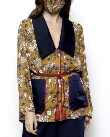 Pax Pilgrim Collar Floral Pattern Homewear Set