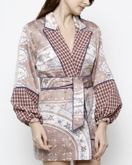Roman Printed Silk-Satin Kimono