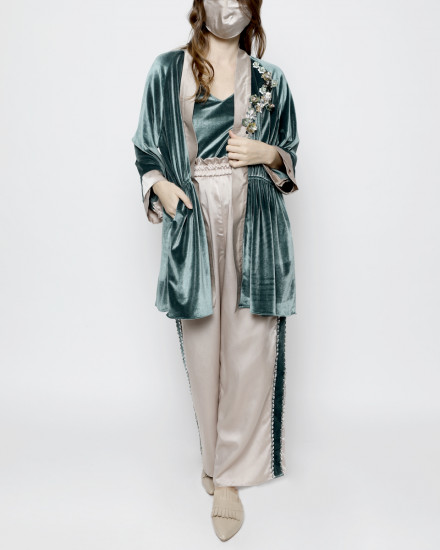 Aubyn Velvet Homewear Set in Delicate Green and Satin Delicate