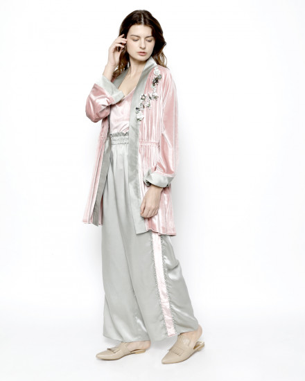 Aubyn Velvet Homewear Set in Delicate Pink and Shimmer Light Green