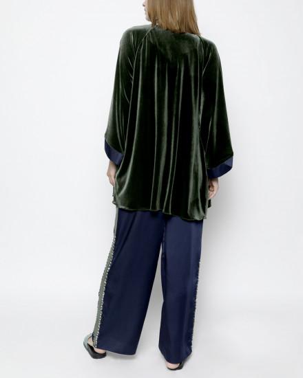Aubyn Velvet Homewear Set in Garden Green and Satin Midnight Blue