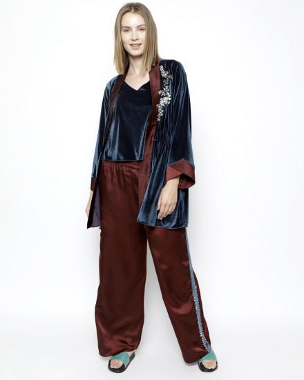 Aubyn Velvet Homewear Set in Midnight Blue and Satin Oxblood Red