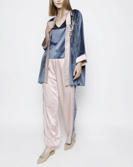 Aubyn Velvet Homewear Set in Stormy Blue and Satin Shimmer Light Pink