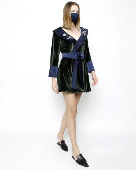 Debonaire Belted Velvet Robe in Garden Green and Satin Midnight Blue