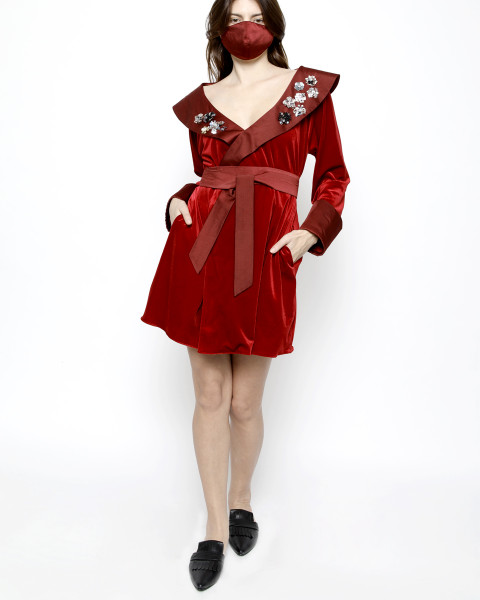 Debonaire Belted Velvet Robe in Red and Satin Oxblood Red