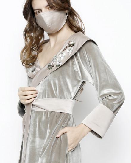 Debonaire Belted Velvet Robe in Delicate and Satin Champagne