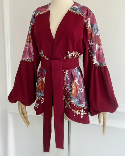 Ivy Outerwear in Maroon & Floral Bloom