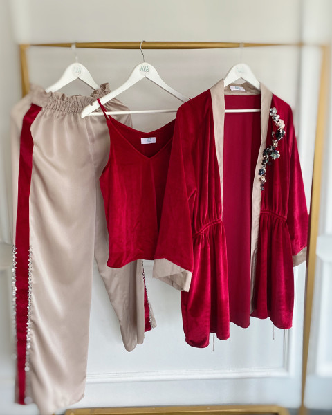 Aubyn Velvet Homewear Set in Maroon and Champagne
