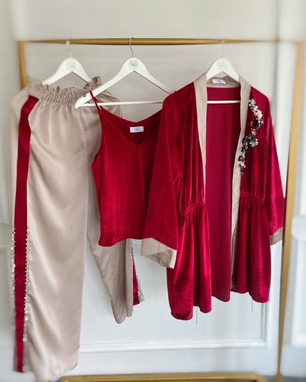 Aubyn Velvet Homewear Set in Maroon and Champagne