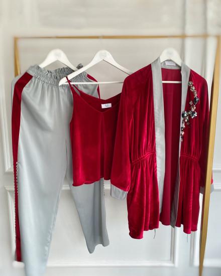 Aubyn Velvet Homewear Set in Maroon and Green Tint