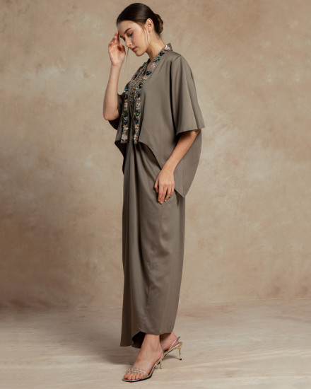 Cassia Signature Embellished One Piece in Poised Taupe