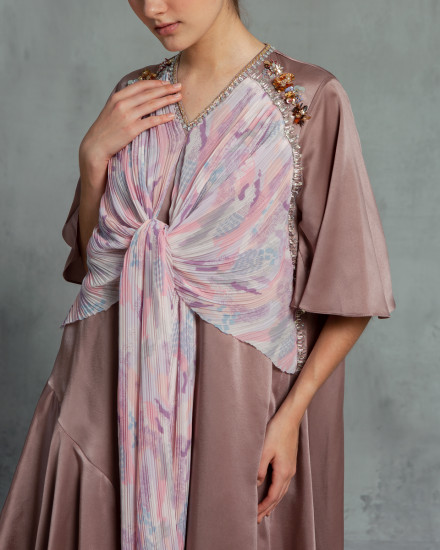 Eudora Wrap-Effect Abstract Pleats Dress in Dessert Taupe