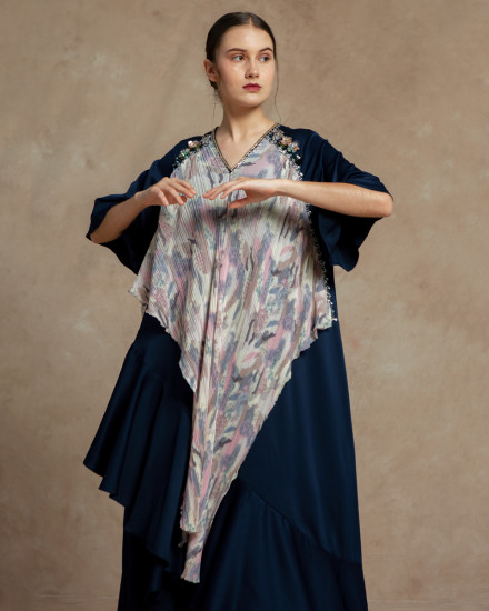 Eudora Wrap-Effect Abstract Pleats Dress in Navy