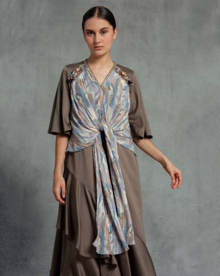 Eudora Wrap-Effect Abstract Pleats Dress in Poised Taupe