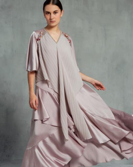 Eudora Wrap-Effect Pleats Dress in Petal Pink