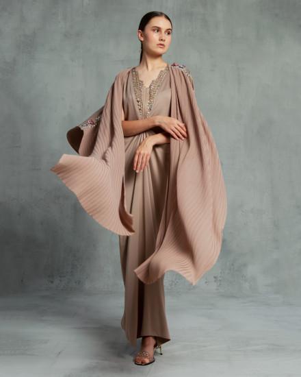 Evren Embellished Three-Way Wrap Pleats Kaftan in Dark Warm Grey