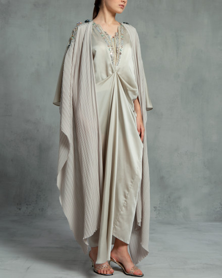 Evren Embellished Three-Way Wrap Pleats Kaftan in Pearl Grey