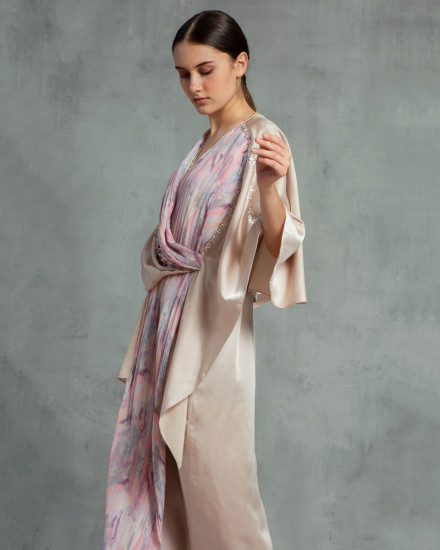 Olesia Signature Wrap Abstract Pleats Kaftan in Champagne