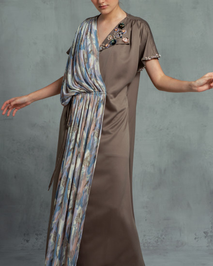 Maxime Origami Abstract Pleats Kaftan in Poised Taupe