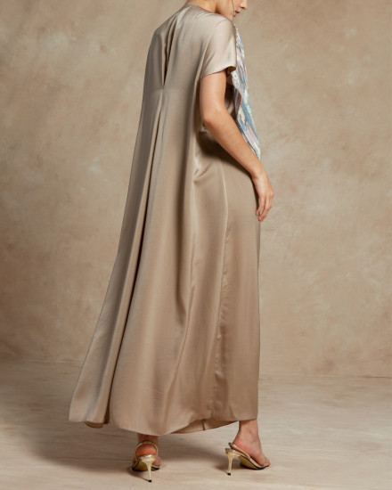 Maxime Origami Abstract Pleats Kaftan in Warm Taupe