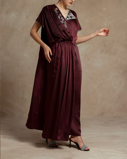 Maxime Origami Kaftan in Oxblood Red