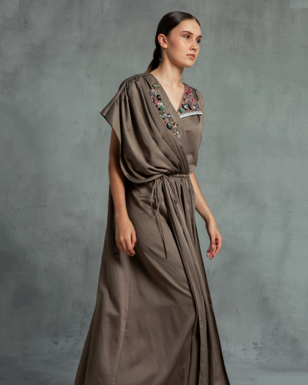 Maxime Origami Kaftan in Poised Taupe